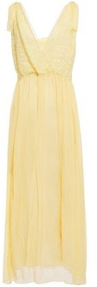 Forte Forte Forte_forte Wrap-effect Corded Lace-paneled Silk-voile Midi Dress