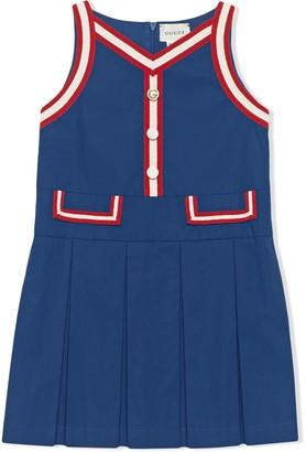 Gucci Kids Pleated Stripe-Trim Dress