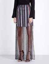 Burberry Braid-embroidered cotton maxi skirt