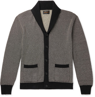 Beams Shawl-Collar Birdseye Cotton And Linen-Blend Cardigan