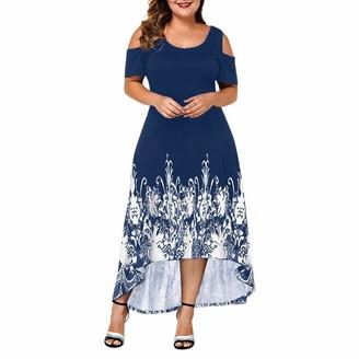 Doldoa Women Dress Women's Plus Size Dress Sale Casual Short Sleeve Elegant Cold Shoulder Loose Dress(Red XL)