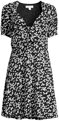 MICHAEL Michael Kors Petal-Print Tie-Front Mini Dress