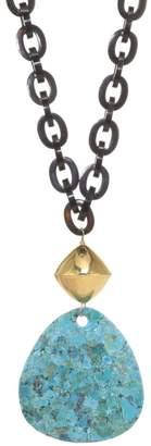 Nest Turquoise & Black Horn Chain Link Pendant Necklace