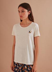 Des Petits Hauts Kaneza T Shirt Ecru with Landscape Embroidery - cotton | 1 | ecru - Ecru