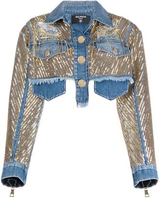 Balmain Cropped Gold Chain Denim Jacket