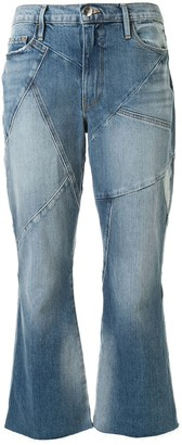 Frame Panelled Kick-Flare Jeans