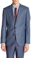 HUGO BOSS Hutch Two Button Notch Lapel Houndstooth Wool Blend Sport Coat
