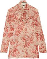 Gucci Pussy-bow Printed Silk-chiffon Blouse - Claret