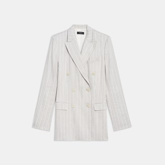 Theory Double-Breasted Blazer in Striped Stretch Linen