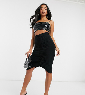 Club L London Petite ruched midi skirt in black