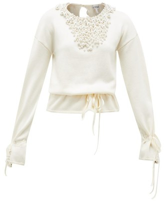 Loewe Drawstring Faux Pearl-embellished Sweater - Cream