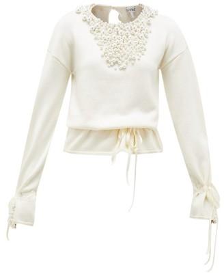Loewe Drawstring Faux Pearl-embellished Sweater - Womens - Cream