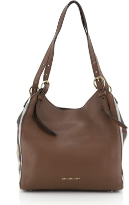 Burberry Canterbury Tote Leather and House Check Canvas Small