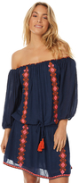 Tigerlily Lamu Womens Off The Shoulder Dress Blue