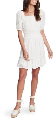1 STATE Square Neck Eyelet Fit & Flare Dress