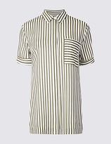 Classic Striped Longline Short Sleeve Shirt