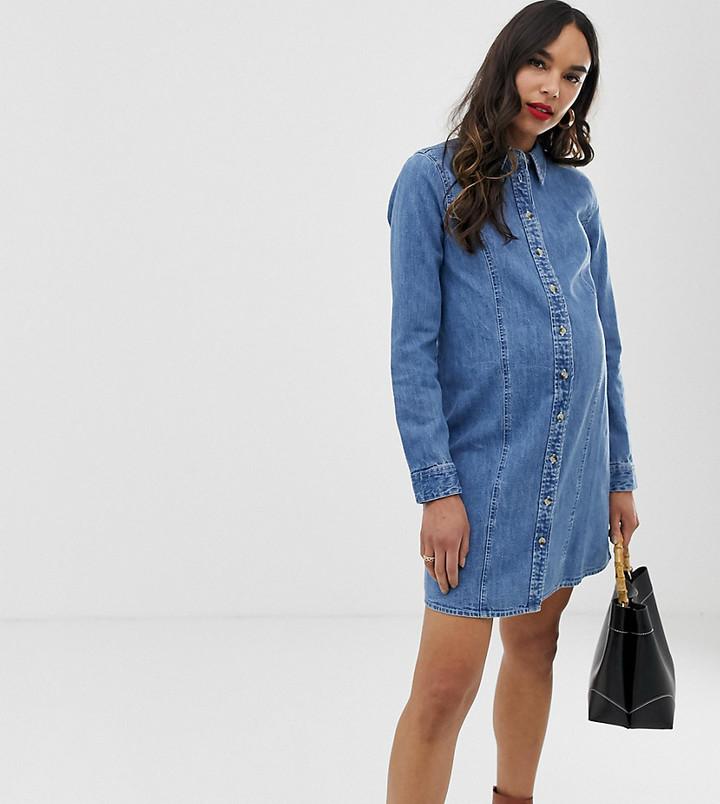 ASOS DESIGN Maternity denim fitted western shirt dress in midwash blue