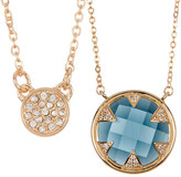 Melinda Maria Tessa Blue Topaz & CZ Pendant Necklace Set