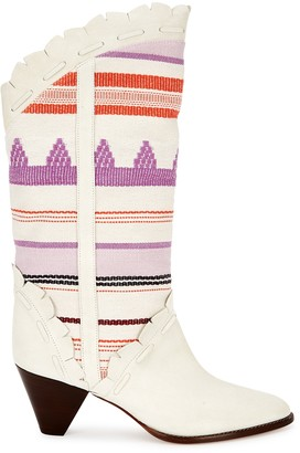 Isabel Marant Leesta 65 embroidered suede Western boots