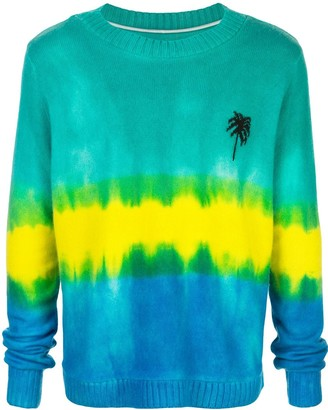 The Elder Statesman Tie-Dye Palm Tree Cashmere Jumper