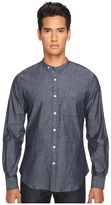 Todd Snyder Chambray Band Collar w/ Pocket Men's Long Sleeve Button Up