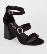 New Look Suedette Wood Flared Heel Sandals