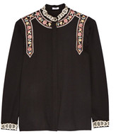Vilshenko Rachel Embroidered Wool And Cashmere-blend Blouse - Black