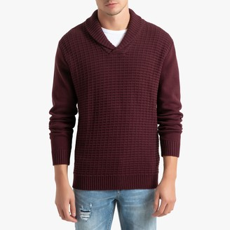 La Redoute Collections Shawl-Collar Jumper in Detailed Chunky Knit