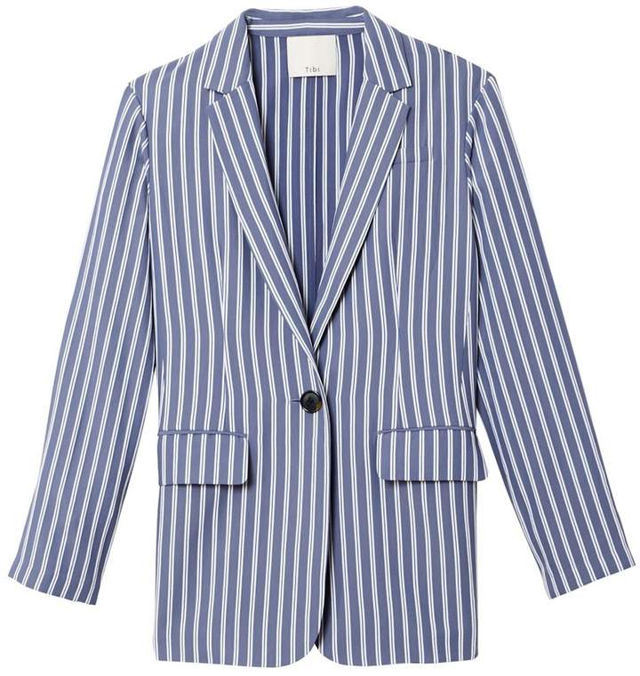 Tibi Stripe Viscose Twill Oversized Blazer in Dusty Blue Multi
