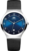 Danish Design Men's 38mm Black Leather Band Steel Case Quartz Watch Iq19q1072