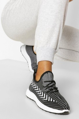 boohoo Stripe Detail Knitted Running Trainers
