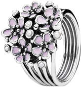 Pandora Cherry Blossom Bouquet Silver & Enamel Pearl Ring