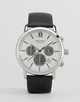 Sekonda Chronograph Black Leather Watch With Silver Dial Exclusive To Asos