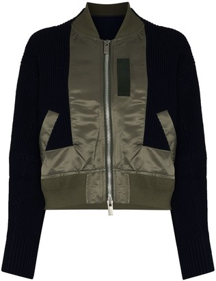 Sacai Knitted-Panel Hybrid Bomber Jacket