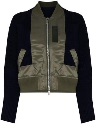 Sacai Knitted-Panel Hybrid Bomber Jacket
