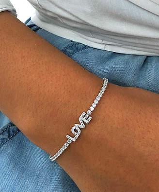 Swarovski Best Silver Women's Bracelets - Sterling Silver 'Love' Adjustable Bracelet With Crystals