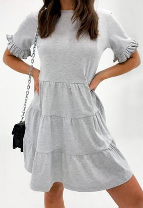 Missguided Gray Marl Frill Sleeve Tiered Smock Dress