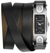 Givenchy Seven Stainless Steel & Leather Wrap Strap Watch