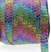 """Midi Ribbon Stretch Holographic Hologram Polka Dot Printed Fold Over Elastic Band 5/8"""" X 10 Yards/Pack- Color-Handmade Hair Tie Headband Ponytail Holder Sewing Supplies"""