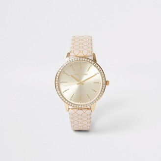 River Island Gold colour RI monogram strap watch