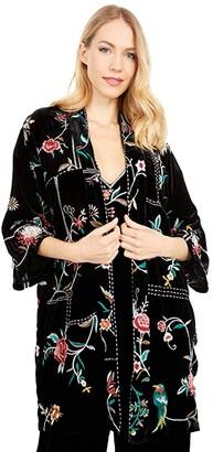 Johnny Was Uriah Velvet Kimono (Black) Women's Clothing