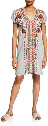Johnny Was Beatriz Embroidered V-Neck Short-Sleeve Easy Tunic Dress