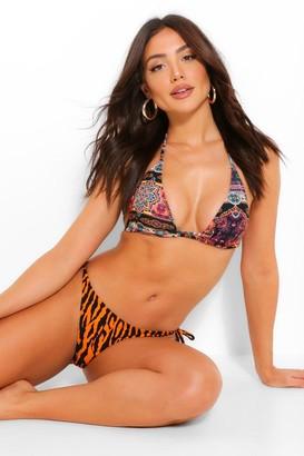 boohoo Mixed Print Tie Triangle Bikini