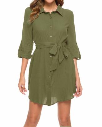 MINTLIMIT Button Down Lapel Shirt Dress Women Long 3/4 Sleeve Pockets Casual Belt Cotton Pull Up Tops Wine Red L
