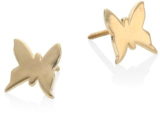 Lana Girl Butterfly 14K Yellow Gold Stud Earrings