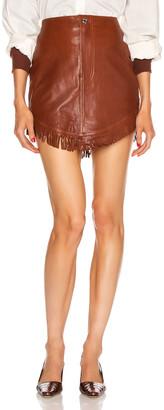 GRLFRND Sadie Leather Fringe Mini Skirt in Brown | FWRD