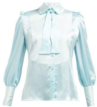 Edeltrud Hofmann - Jolly Pussy-bow Silk Blouse - Womens - Blue Multi