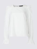Limited Edition Flared Cuff Cutwork Sleeve Blouse
