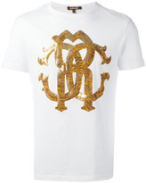 Roberto Cavalli metallic monogram logo T-shirt - men - Cotton - XS