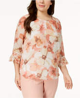 Alfred Dunner Plus Size Printed Keyhole Blouse